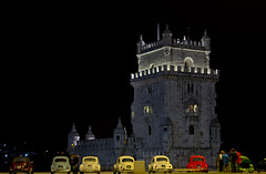 Belem Tower Meeting (bernmendes) Tags: life blue red sky people white detail green tower cars primavera yellow vw night contrast canon lights spring torre shot lisboa lisbon group beetle may bordeaux meeting automotive belem gathering contraste talking maio 2012 tons 600d