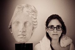 Sguardo Pneumatico (Choollus) Tags: italien portrait italy sculpture woman art girl statue museum sepia canon fun glasses donna mujer italian italia chica arte retrato femme rimini museo brille frau lunettes fille statua ritratto italie rayban giulia imitation lenses ragazza emiliaromagna italiana lightroom occhiali romagna scultura seppia madchen