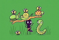 Strongman (randyotter) Tags: green art grass illustration design ant snail tshirt bugs bee beatle tee millipede strongman
