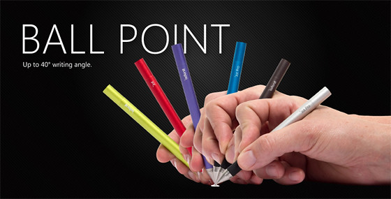 Adonit ball point stylus writing angles