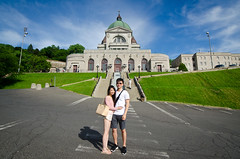Posing In Front of the Oratory (seango) Tags: trip summer vacation sky canada church pose asian couple quebec gates weekend montreal entrance royal wideangle mount mont saintjoseph oratoire