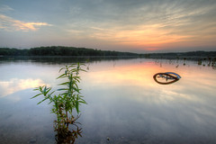 Sunset at Horn Pond (Vath.Sok) Tags: sunset plant reflection bicycle pond horn hdr woburn