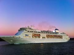 Setting on an adventure! (SkyWalker108) Tags: ocean cruise sea sky reflection water boat twilight waves ship harbour smoke sydney australia departing skywalker pacificpearl skywalker108