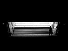 Underworld (Ben_Morio) Tags: street bridge light paris silhouette dark walking blackwhite shadows louvre streetphotography micro43 panasonicg3
