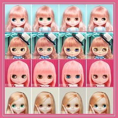 Neo Blythe Comparison: Coco Collette (CoCo/first), Heart of Montmartre (HoM/second), Stella Savannah (StSa/third) and Mademoiselle Rose Bud (MRB/last) (electrikbarbarella) Tags: pink coco comparison mrb hom rbl mademoisellerosebud stsa neoblythe heartofmontmartre stellasavannah cococollette