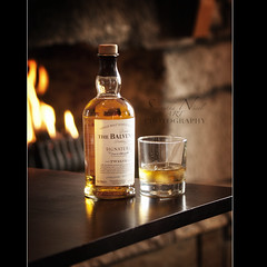 A Wee Dram In Front Of The Fire! (Samantha Nicol Art Photography) Tags: life art ice glass fire bottle still warm dof bokeh scottish whiskey alcohol single booze scotch samantha malt dram nicol