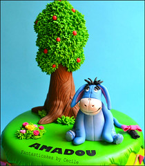 Eeyore Birthday Cake (close-up) (Fantasticakes (Cécile)) Tags: tree donkey flags eeyore birthdaycakes winniepooh sugarmodelling cecilecrabot