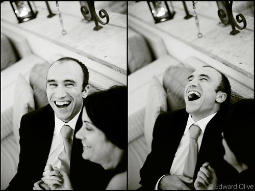 Retratos en blanco y negro dyptich de una boda en el ME Hotel Plaza Santa Ana Madrid 2012 - Edward Olive photographer fotógrafo photographe Fotograf