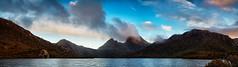 Erupting Cradle (Tim Poulton) Tags: blue sunset sky lake water clouds nikon panoramic tasmania cloudscape cradlemountain