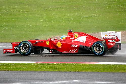 Fernando Alonso in his Ferrari F1 car at Silverstone