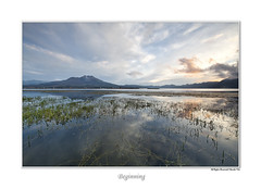Beginning of the day (Shunfa Teh) Tags: sea bali lake reflection grass sunrise canon indonesia volcano beginning lakebatur batur danaubatur danau mountbatur leefilter shunfa 5dii 9sgnd