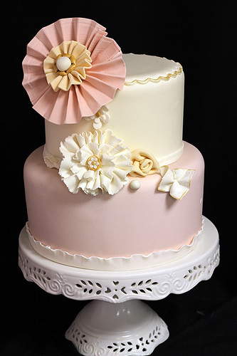 Fabric inspired Ruffle Wedding Cake