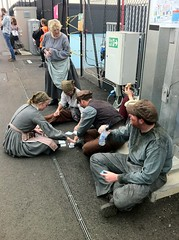 Relaxing Before The Show (MykReeve) Tags: people london cards volunteers card volunteer behindthescenes olympicpark openingceremony london2012 etonmanor
