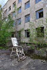 The Doctor Is Out (mrscaptainmonkeypants) Tags: abandoned hospital chair ruins decay radiation nuclear ukraine adventure forgotten urbanexploration disaster exploration derelict ue chernobyl urbex stirrups haikyo pripyat