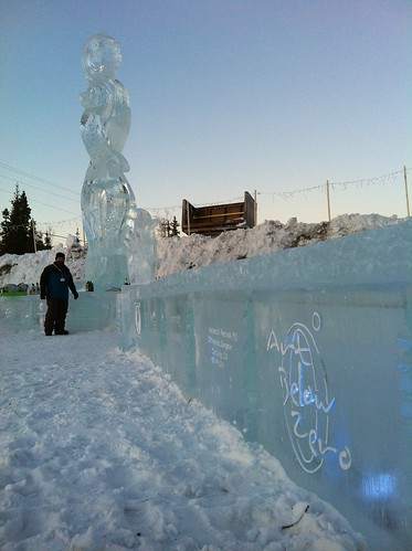Art Below Zero @ longest Ice bar Ice Sculpture (209 ft) Guinness record in Fairbanks, Alaska 2011