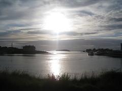 sunset in bay (VERUSHKA4) Tags: canon europe russia solovki islands house boat light sunlight silverish grass bay summer august vue view village sun nature moor