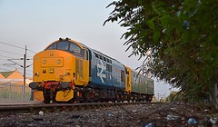 Loco 37401 'Mary Queen of Scots' with Director Saloon 'Caroline' on an overnight layover at Stowmarket, in the last of the evenings sunlight. 18 08 2016 (pnb511) Tags: greateasternmainline geml trains railway class37 locomotive loco track rail drs directrailservices stowmarket sidings