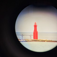 Red Lighthouse (Madison Guy) Tags: lighthouse red iphone telescope algoma wi