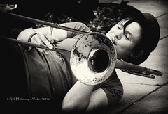 Street Musician (rhfo2o - rick hathaway photography) Tags: canon canoneos7d rhfo2o bath somerset streetmusician trombone bw blackandwhite mono