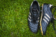 Match Day (23of365) (Reckless Times) Tags: football soccer boots shoes adidas kaiser5 world cup cups polished old worn grass pov above fromabove nikon nikond750 leather shine retire last game match day project 365