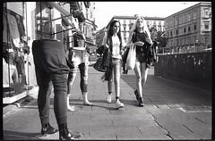 (8 Legs) (Robbie McIntosh) Tags: leicamp leica mp rangefinder streetphotography 35mm film pellicola analog analogue negative leicam summilux analogico leicasummilux35mmf14i blackandwhite bw biancoenero bn monochrome argentique summilux35mmf14i dyi selfdeveloped filmisnotdead autaut ilforddelta400 ilford delta 400 arsimagofd arsimagofddeveloper eyecontact women girls legs
