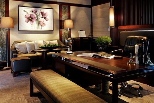 A Luxury Club Millésime Room converted to an in-room office