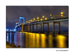 Throgs Neck Bridge NYC (NYC sharpshooter) Tags: nyc travel bridge ny reflection love night neck stars gold lights twilight highway queens hour transportation tunnels scenes hdr throgs photomatix i mygearandme