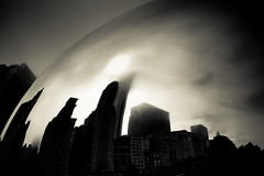 Outside The Bean (Hans Maso) Tags: park city chicago fog 35mm canon buildings us 5d millenniumpark cloudgate markiii ef35mmf14l canoneos5dmarkiii