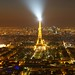 Eiffel tower by night from Tour Montparnasse