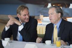 Burkhard Jung and John Horsley chat at the reception
