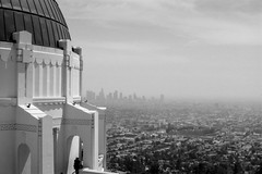 Los Angeles from The Griffith Observatory (fairminer) Tags: park ca city urban bw usa film skyline architecture analog america 35mm rebel iso100 james la us blackwhite losangeles nikon downtown view skyscrapers unitedstates hill dean observatory dome planetarium 100 analogue griffithobservatory griffith without ilford cause nikonfe2 fe2