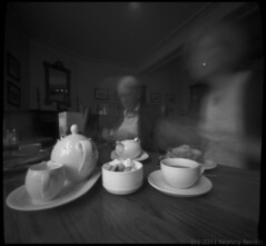 6-20-11.  Ferns Tea Room, Canterbury. 10 second pinhole exposure. (squaremeals) Tags: film kent tea canterbury sugar pinholecamera zero2000 teacake squaremeals 237pinhole