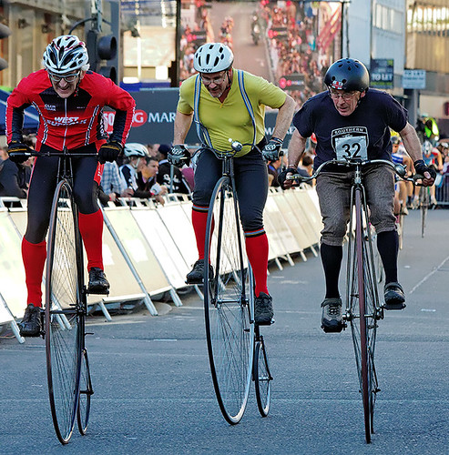 Brooks penny-farthing race, London nocturne