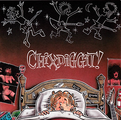 Chixdiggit! Shadowy Bangers (Tom Bagley) Tags: music canada calgary illustration ink skull bed kiss punk cartoon guitars folklore heavymetal creepy alberta drool subpop airbrush paulstanley cornball hesher chixdiggit magicmarkers tombagley brushwork shadowymen canadiancontent