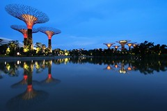 Reflections at the Gardens (Shutter wide shut) Tags: longexposure reflections twilight singapore canonefs1022mmf3545usm flowerdome gardensbythebay canoneos7d supertrees supertreegrove dragonflykingfisherlakes ocbcgardenrhapsody