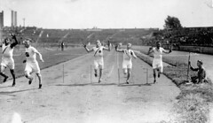 James Ball of Canada (left) winning a silver m...