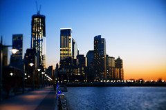 Tower of Light. Tower of Freedom. (Linh H. Nguyen) Tags: city sunset newyork water architecture night buildings river lights bokeh sony freedomtower nex5n fujinon3517