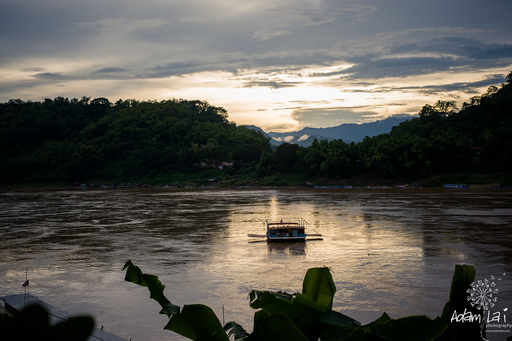 Sunset at Luang prabang riverside
