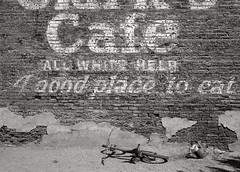All White Help, Huntington, Oregon (austin granger) Tags: signs brick history film bicycle oregon america cafe time decay huntington memory racism largeformat prejudice deardorff austingranger