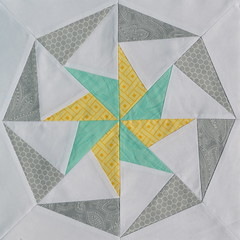 Block for eatsleepsew (jenjohnston) Tags: yellow grey star aqua pinwheel quiltblock paperpieced quiltingbee