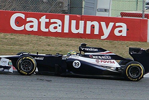 Bruno Senna in his Williams F1 car at Formula One Winter Testing, Circuit de Catalunya, March 2012