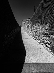 Distance (Swiftach) Tags: catalunya gerona wall route spain blackandwhite brick amazing lines black oldtown monochrome