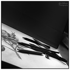 Art Supplies (juliewilliams11) Tags: blackandwhite paper pencil art photoborder