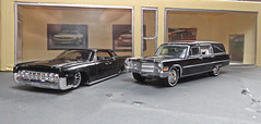Custom Funeral Cars. (ManOfYorkshire) Tags: lincoln continental 1964 custom lowered hotwheels johnnylightning diecast 164 model toy cars cadillac hearse funeral diorama
