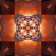 Kaleidoscope based on Crystal (Anne Worner) Tags: kaleidoscope orange red maroon squares crystal symmetrical symmetry pattern edge anneworner
