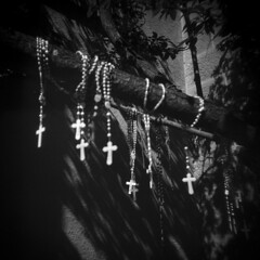 Santa Fe #27 (LowerDarnley) Tags: holga santafe newmexico southwest crosses crucifix religion shrine rosarybeads