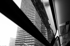 Euston Tower (Gary Kinsman) Tags: london 2016 fujix100t fujifilmx100t bw blackwhite window tower highrise onthemove eustontower nw1 eustonroad bus no134 134 architecture modernism modernist lookingup euston
