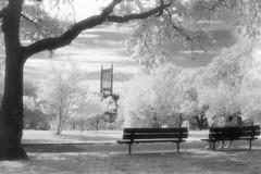 Astoria Park Infrared (Rafakoy) Tags: infrared queens ir kodakhie 35mm nikon f100 50mm film blackandwhite bw astoria newyork astoriapark nature trees grass bench people ny nyc triboroughbridge triborobridge robertfkennedybridge interstate278 eastriver hoyar72 expired selfdeveloped