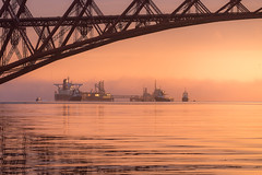 Hound Point at Sunrise (Tom_Drysdale) Tags: point queensferry bridge oil south 2016 stillcalm colour color xt10 fujifilm sea sunrise river north orange august water hound estuary terminal fuji forth