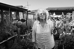One of the Houseboat residents (Philip Van Ootegem) Tags: blackandwhite monochrome woman resident houseboat uk shoreham sussex